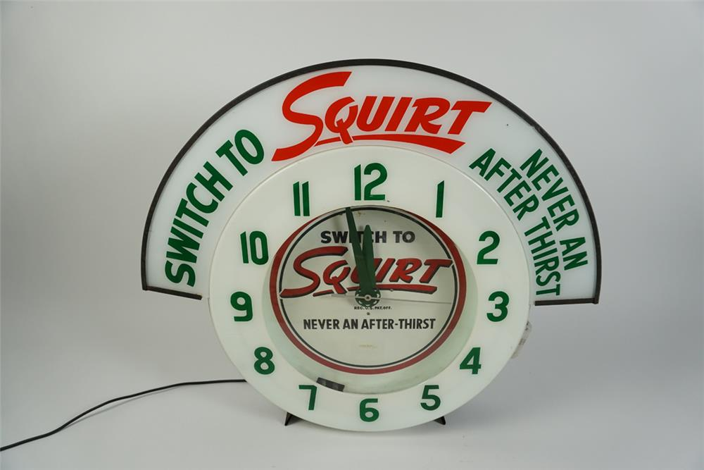 Extremely rare all original 1950s Squirt Soda Cleveland neon clock with lighted advertising marquee. - Front 3/4 - 187609