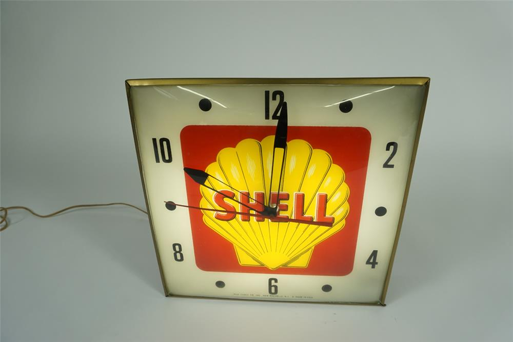 Late 1950s-early 60s Shell Oil glass faced light-up service station clock with clamshell logo. - Front 3/4 - 187611