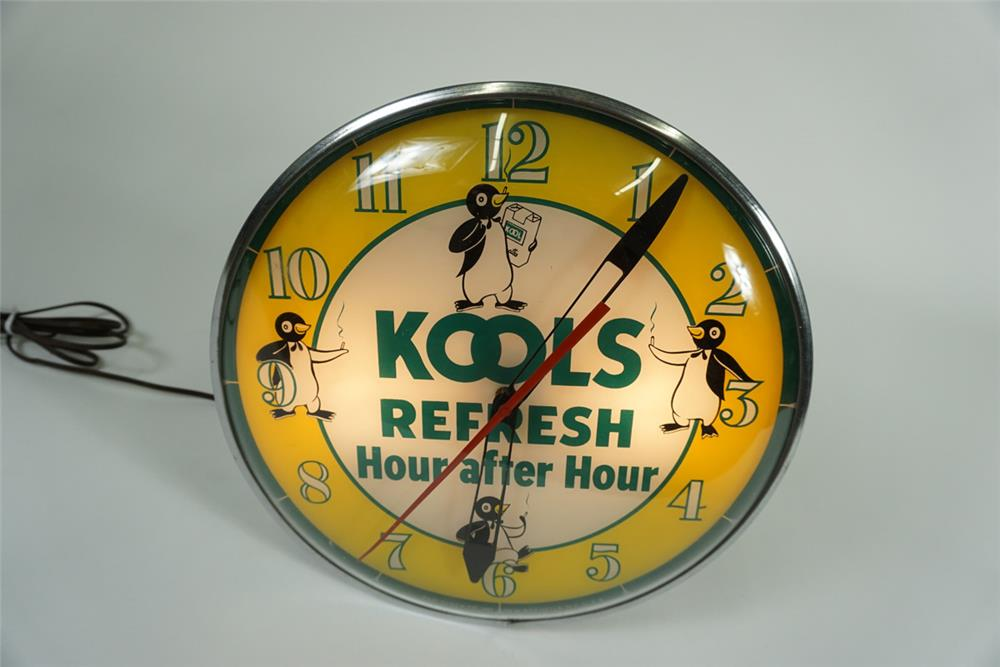 Nifty late 1950s-early 1960s Kool Cigarettes glass faced light up service station clock with killer graphics. - Front 3/4 - 187614