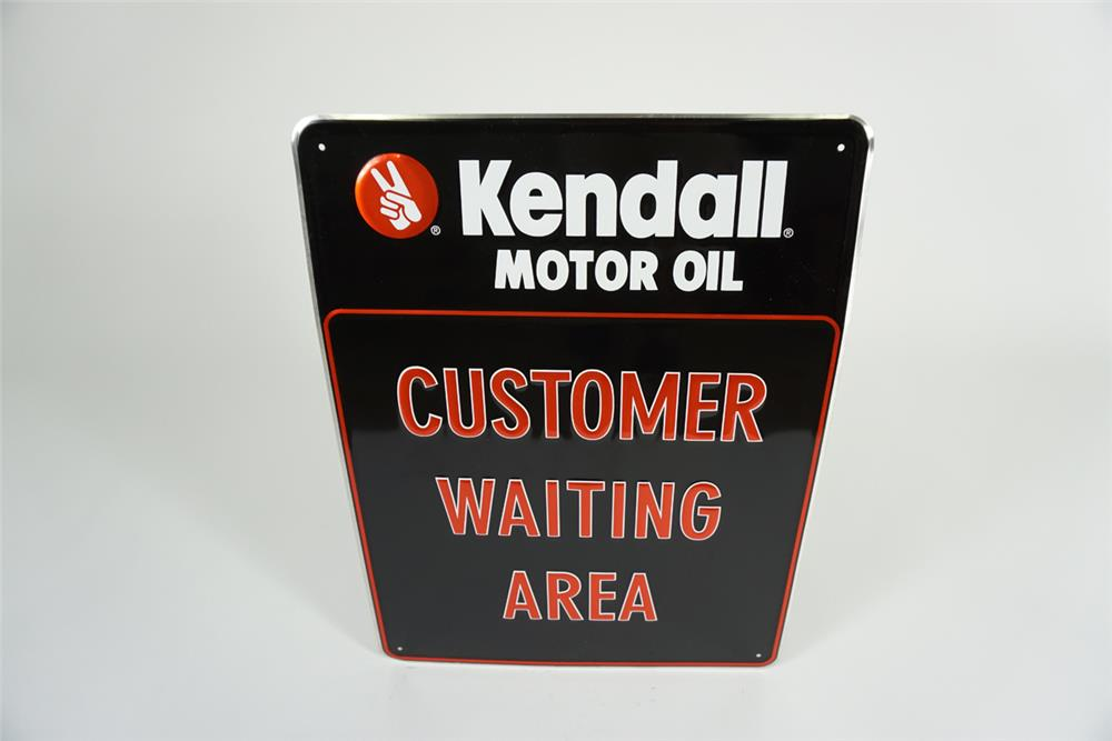 """NOS Kendall Motor Oil """"Customer Waiting Area"""" single-sided embossed tin automotive garage sign. - Front 3/4 - 187617"""