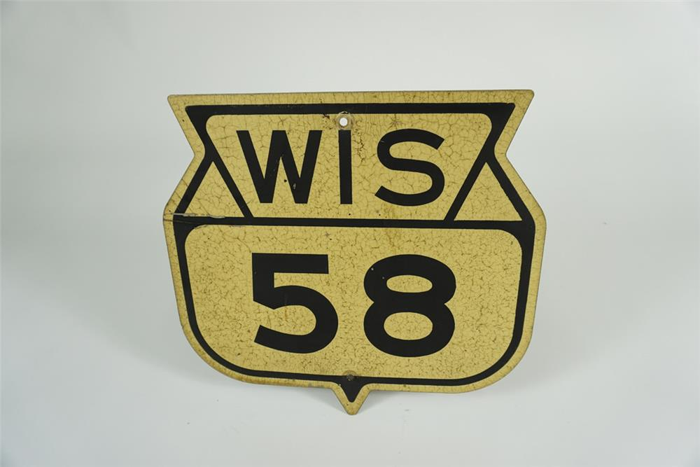 Neat Wisconsin Highway 58 die-cut shield shaped metal highway sign. - Front 3/4 - 187621