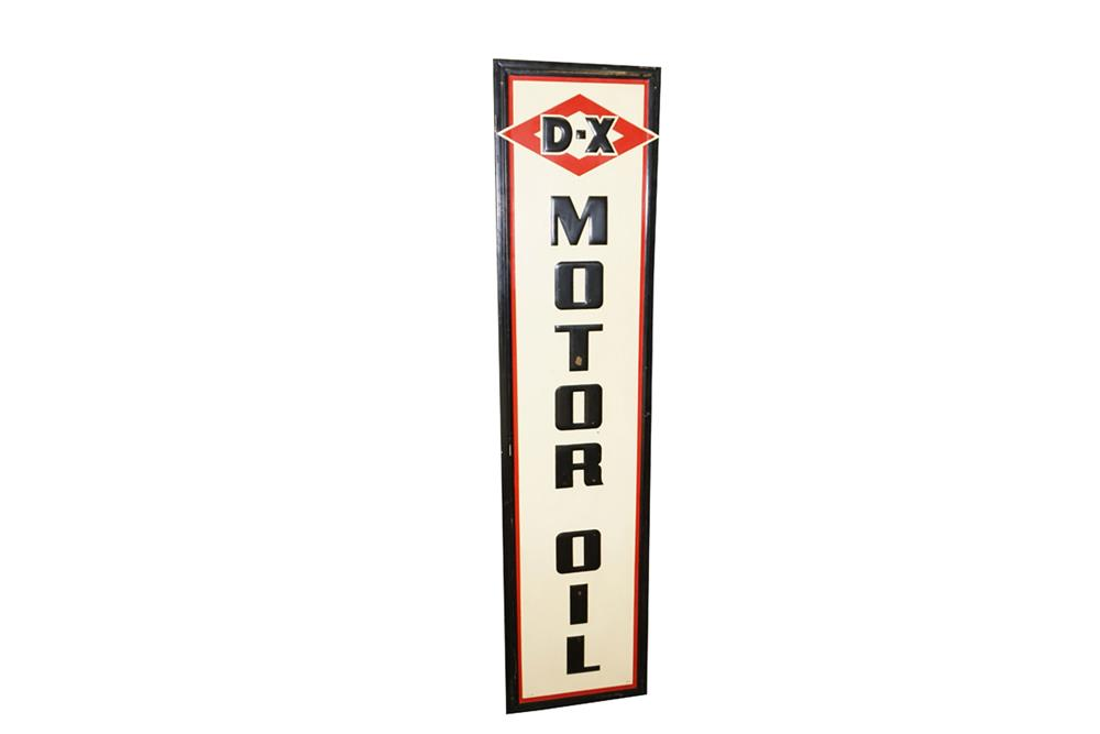 1949 D-X Motor Oil single-sided self-framed tin with wood back service station sign. - Front 3/4 - 187627