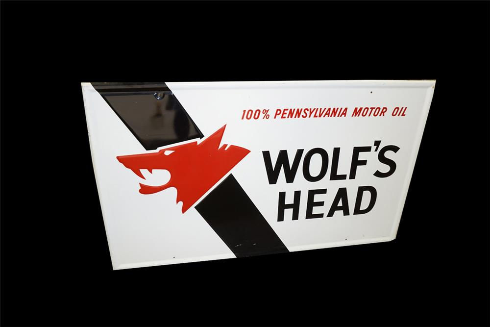 Fabulous Wolf's Head Motor Oil single-sided self framed tin automotive garage sign. - Front 3/4 - 187628