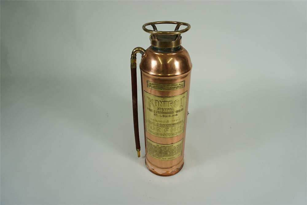 Sharp 1920s Kontrol of St. Louis brass service station fire extinguisher. Nifty decorative piece. - Front 3/4 - 187632