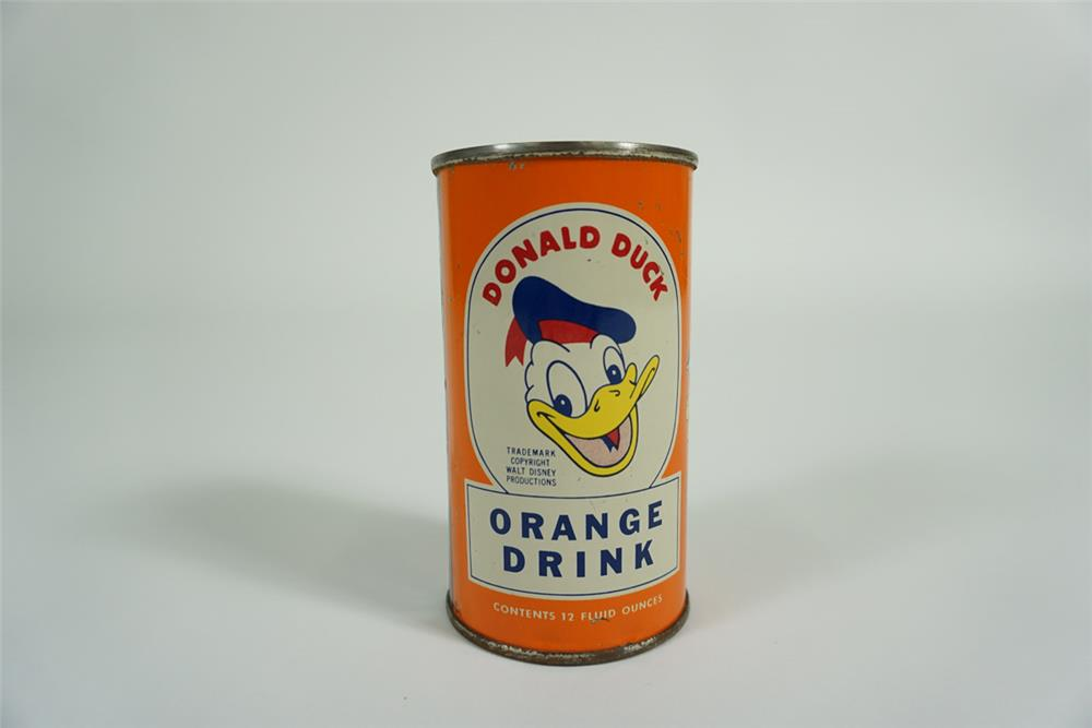 Sharp 1950s Donald Duck Orange Soda tin with superb Donald Duck featuring his nephews on the side. - Front 3/4 - 187634