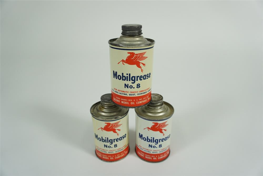 Very nice Mobil Grease No. 8 seven ounce tins with Pegasus logo - Front 3/4 - 187635
