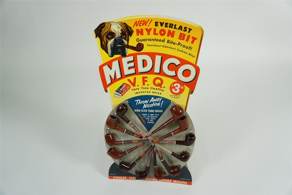 Very cool NOS 1950s Medico Tobacco Pipes service station countertop display with nice graphics and still full of unused product. - Front 3/4 - 187638