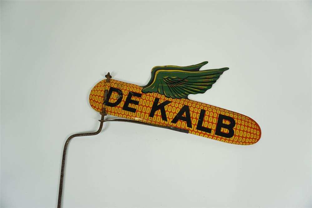 1940s DeKalb Seeds double-sided die-cut tin sign with winged logo. - Front 3/4 - 187639