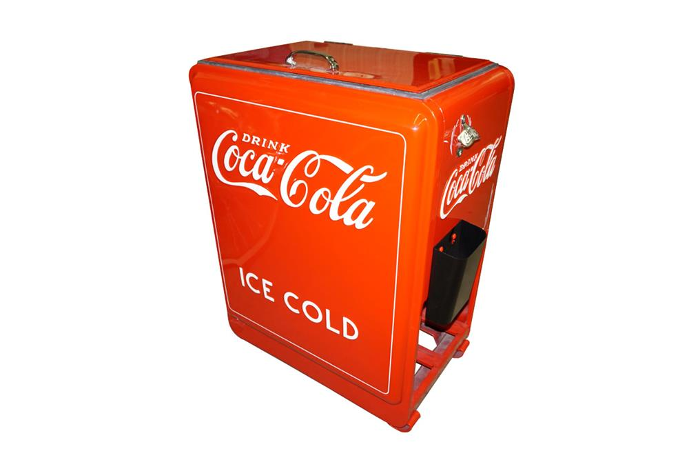 "Stunning 1930s Coca-Cola ""princess"" restored service station ice cooled soda cooler with bottle crate storage underneath. - Front 3/4 - 187643"