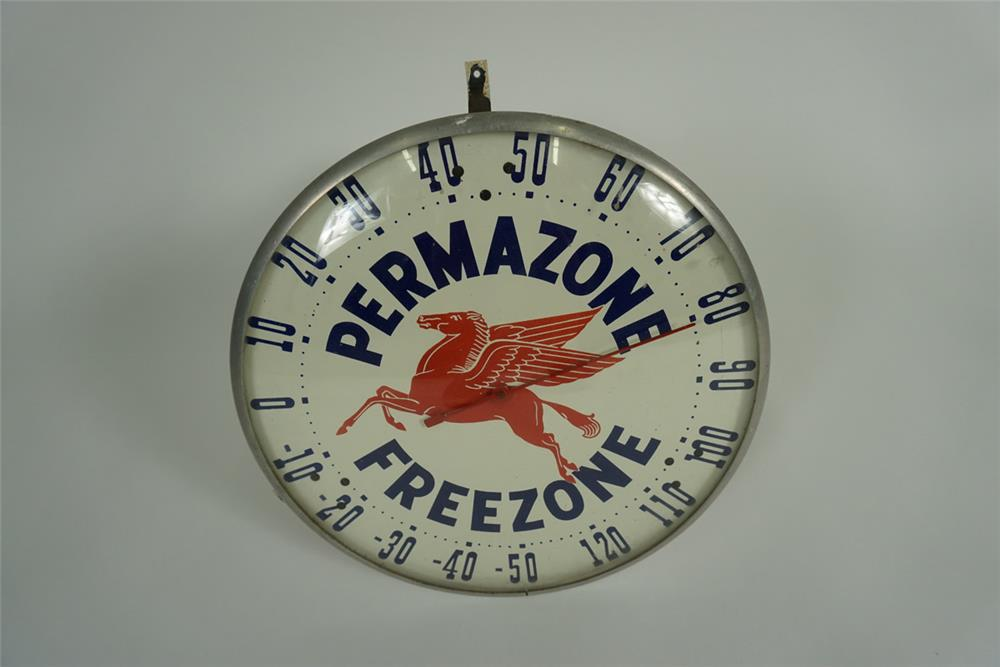 "Hard to find 1950s Mobil Oil ""Permazone-Freezone"" Anti-Freeze glass faced service station dial thermometer with Pegasus logo. - Front 3/4 - 187644"