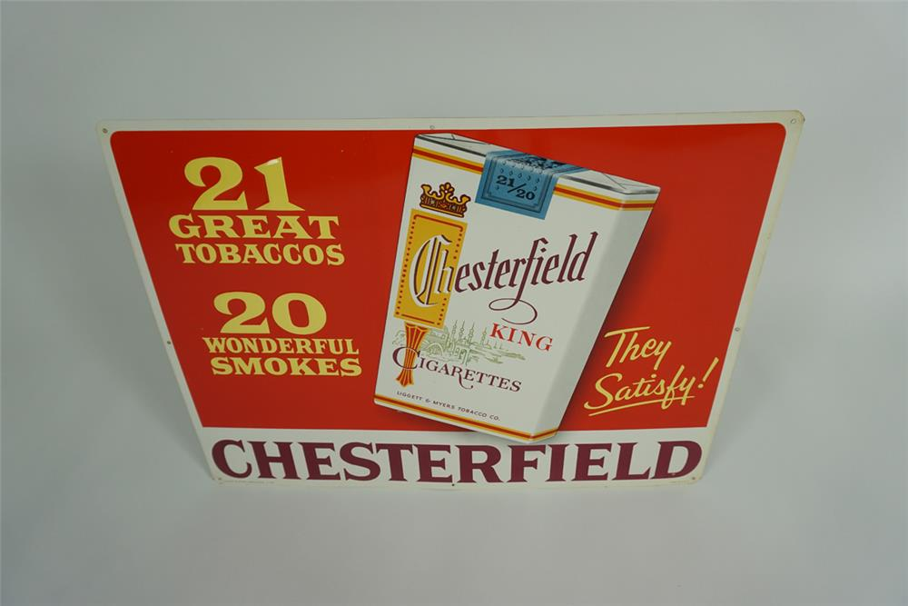 Late 1950s Chesterfield Cigarettes single-sided embossed tin sign with Cigarette pack graphic. - Front 3/4 - 187645