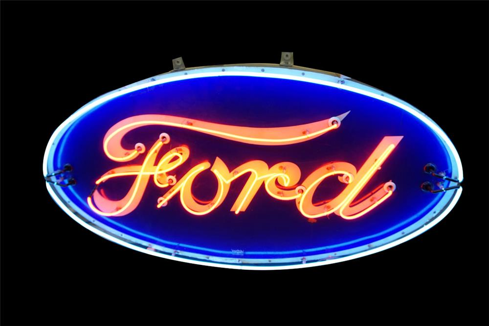 Good looking 1930s-40s Ford Automobiles single-sided neon porcelain dealership sign. - Front 3/4 - 187649
