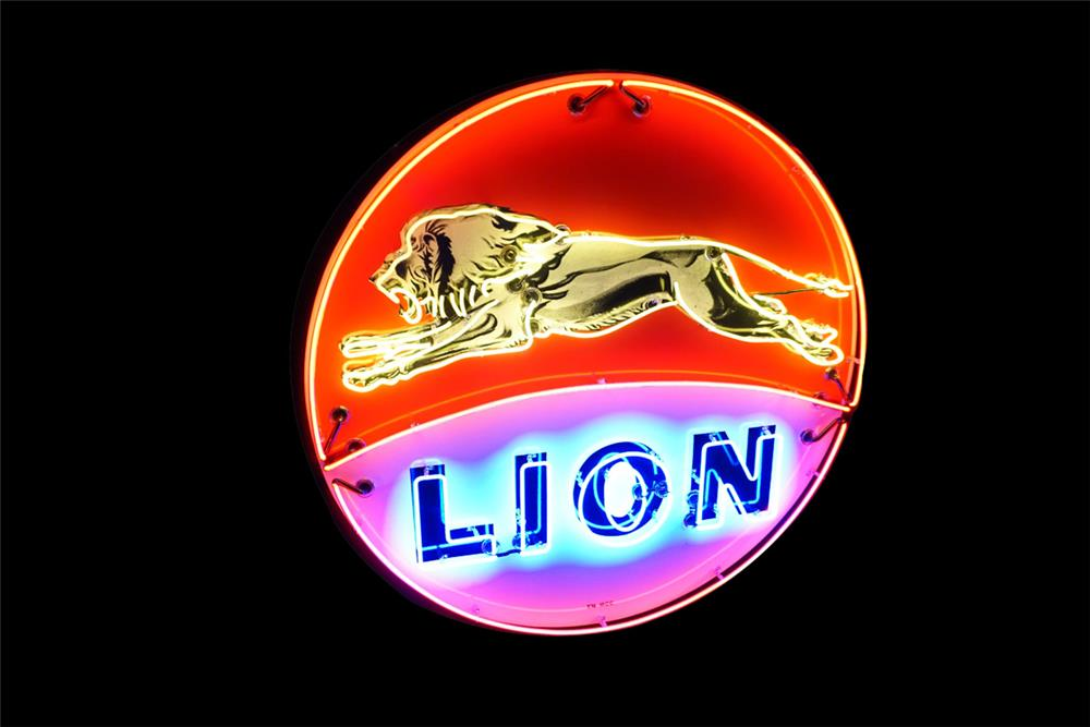 Beautiful restored Lion Oil single-sided porcelain neon service station sign with leaping lion graphic. - Front 3/4 - 187651