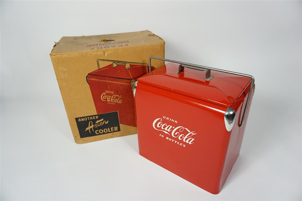 Awesome 1950s Acton Coca-Cola metal picnic cooler found still in the original box. - Front 3/4 - 187656