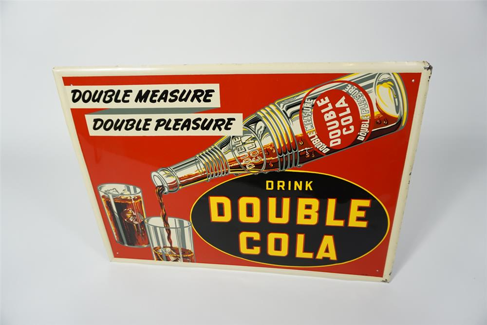 Killer 1930s Double-Cola single-sided self-framed tin sign with bottle pouring graphic. - Front 3/4 - 187659