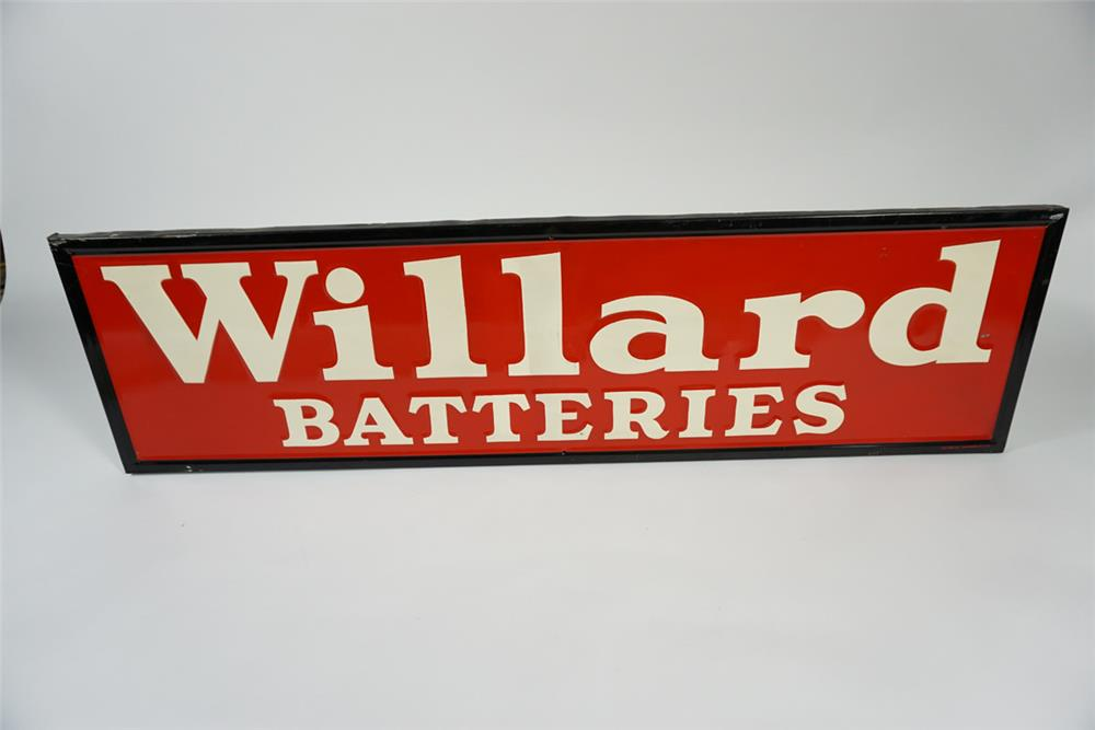 Beautiful 1940 Willard Batteries single-sided tin painted automotive garage sign with wood framed back. - Front 3/4 - 187664