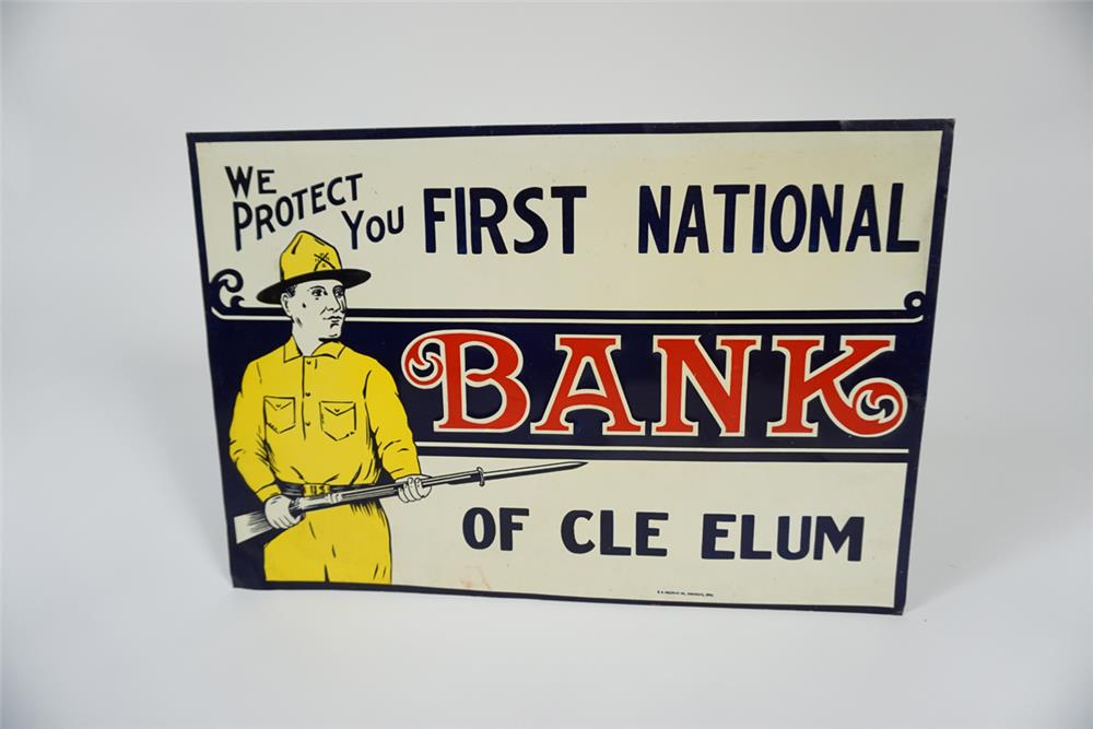 Choice NOS 1920s First National Bank single-sided tin sign with U.S. doughboy graphic. - Front 3/4 - 187668