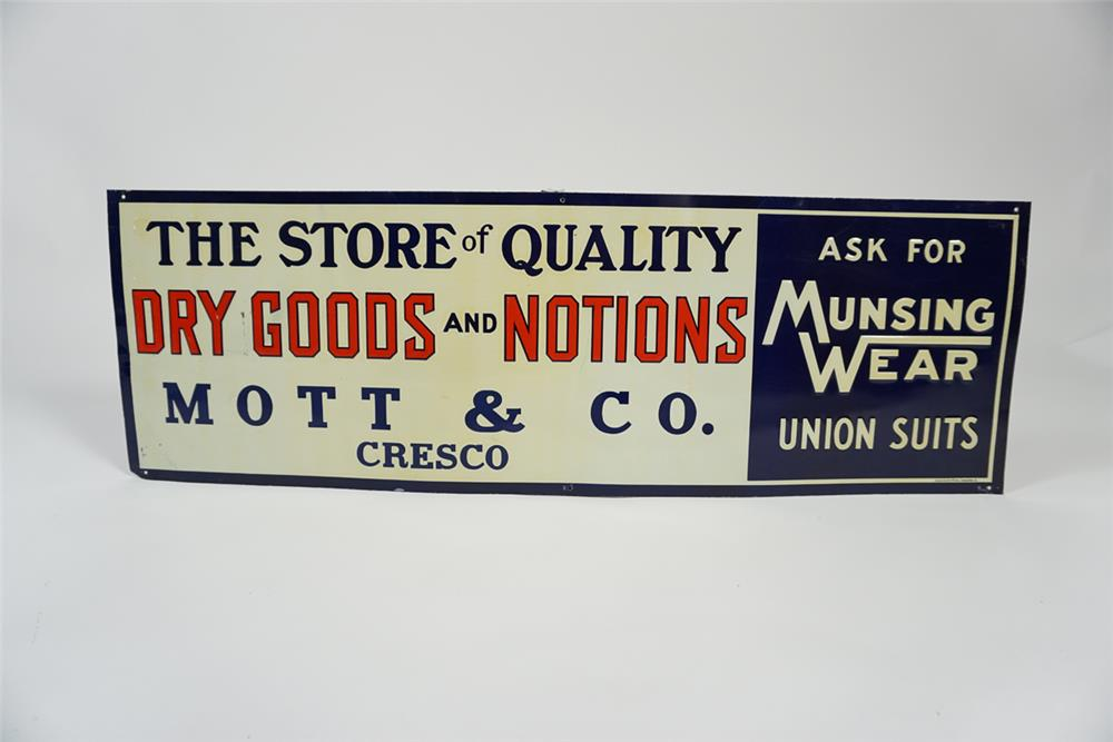 "NOS 1920s-30s Munsing Wear Union Suits ""Store of Quality"" single-sided embossed tin sign. - Front 3/4 - 187670"