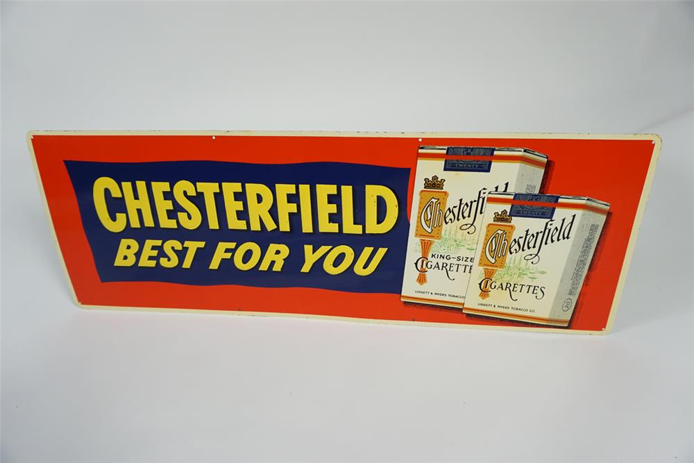 "NOS 1950s Chesterfield Cigarettes ""Best For You"" single-sided embossed tin sign with cigarette pack graphic. - Front 3/4 - 187671"