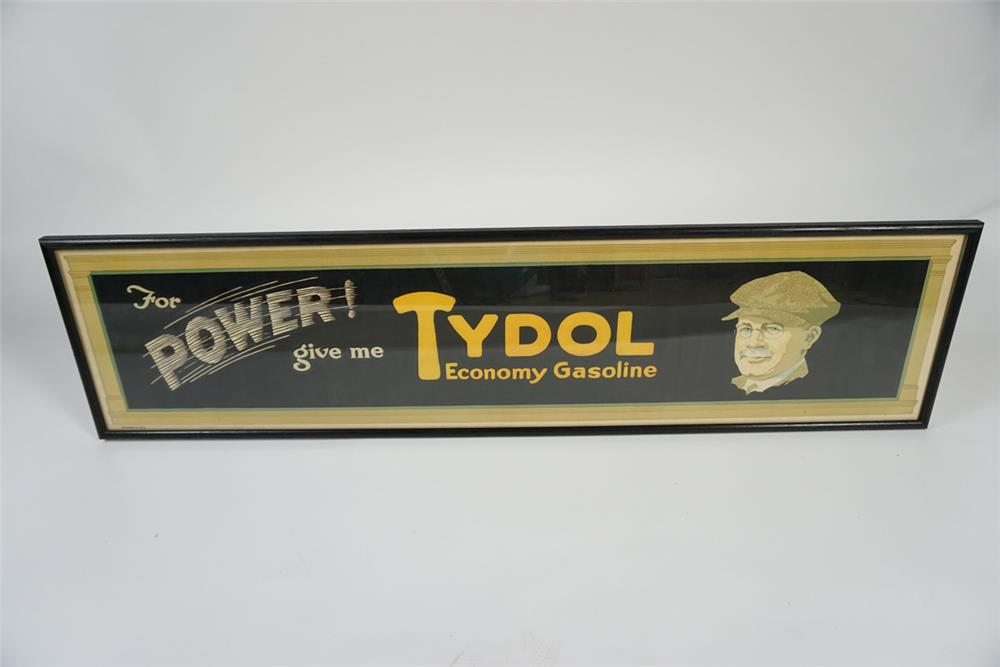 "NOS 1920s Tydol ""Economy Gasoline"" filling station poster with period driving gent. - Front 3/4 - 187673"