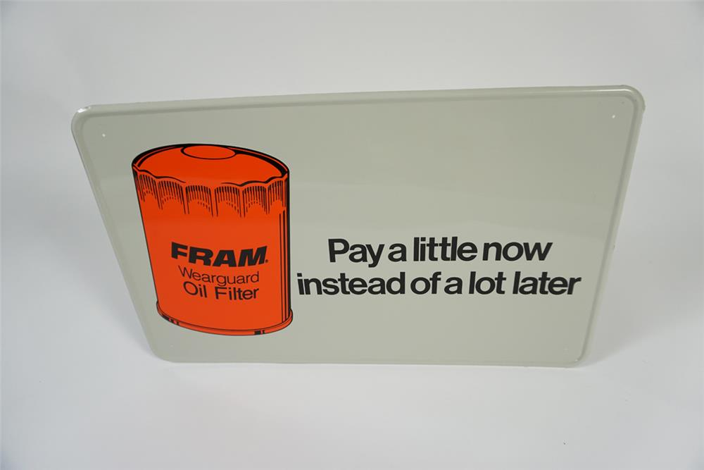 """NOS Fram Oil Filters """"Pay a little now"""" single-sided tin service department sign with filter graphic. - Front 3/4 - 187674"""