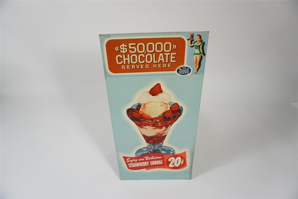 "1950s Rexall Drugs Soda Fountain $50,000 Chocolate Served Here"" ice cream sundae cardboard display sign. - Front 3/4 - 187678"