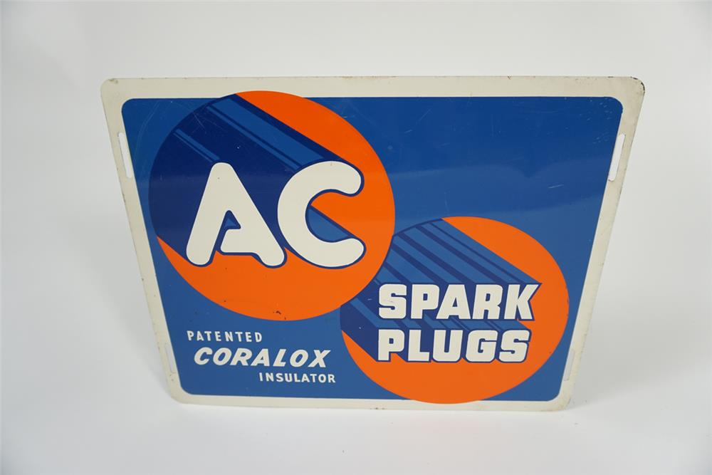 1940s AC Spark Plugs with Coralox Insulator single-sided tin automotive garage sign. - Front 3/4 - 187680