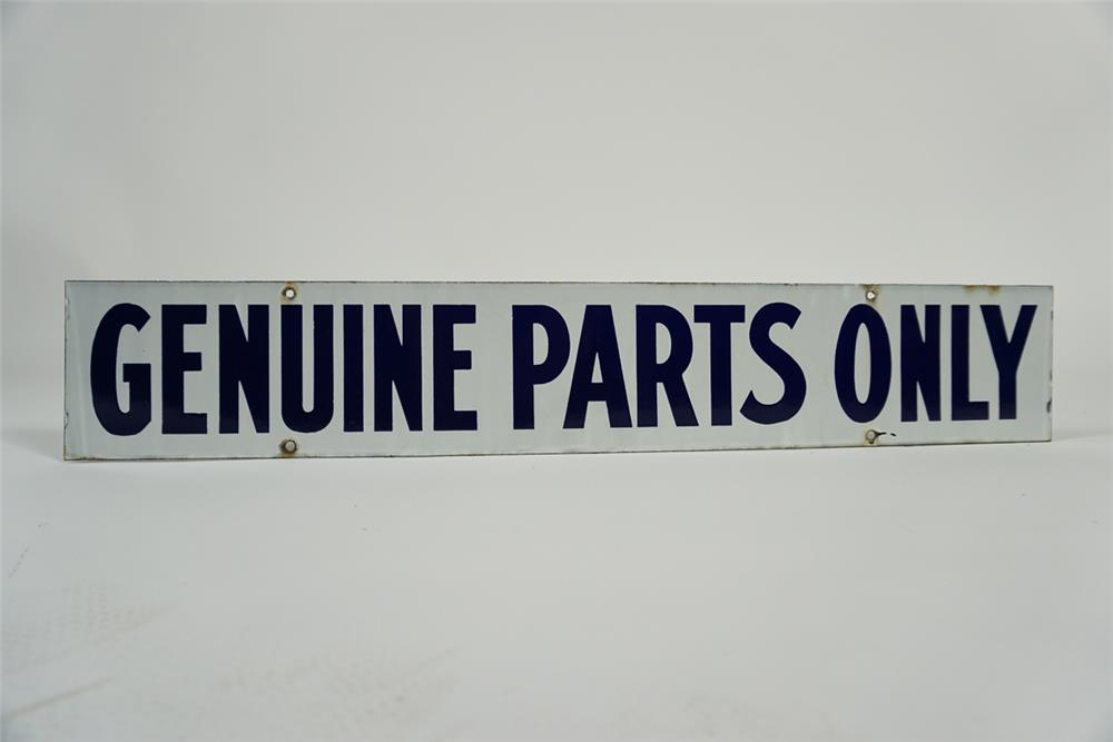 "Uncommon 1940s Ford ""Genuine Parts Only"" double-sided porcelain dealership sign. - Front 3/4 - 187682"