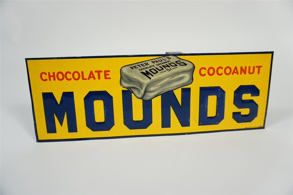 Rare 1920s Peter Paul's Mounds Chocolate - Cocoanut Bars single-sided tin sign with nice graphics. - Front 3/4 - 187684