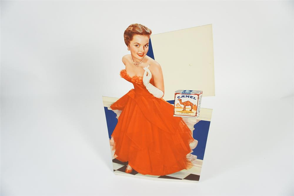 Stylish 1950s Camel Cigarettes service station cardboard display with model in ball gown. - Front 3/4 - 187686