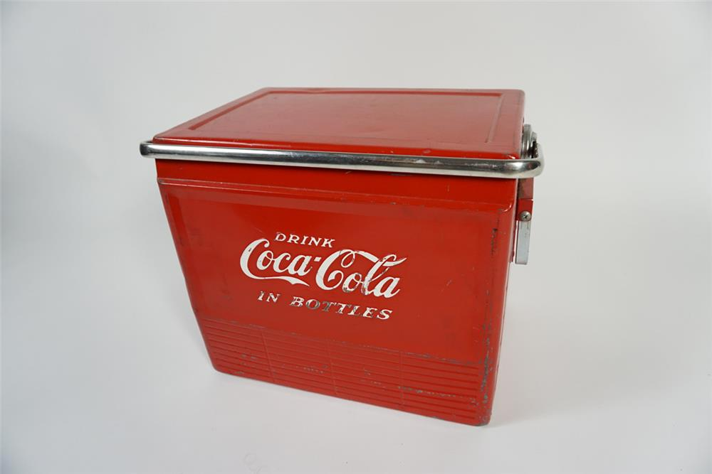 Choice late 1950s Drink Coca-Cola In Bottles metal picnic cooler complete with interior tray - Front 3/4 - 187690