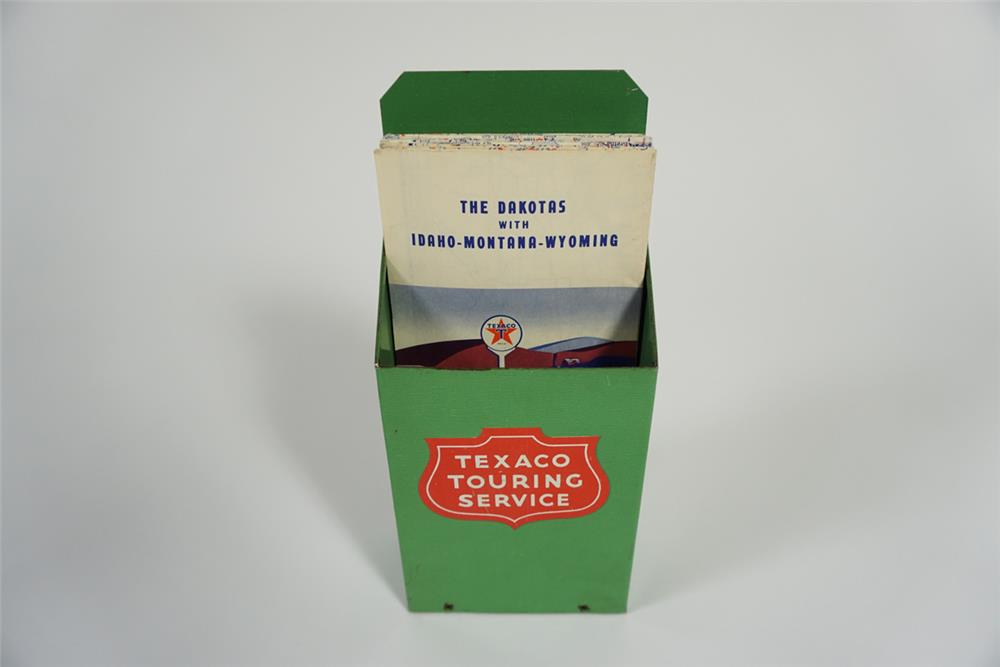 Very clean 1950s Texaco Touring Service  station countertop metal map display with several period maps included. - Front 3/4 - 187721
