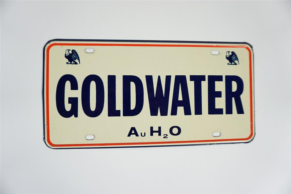 NOS 1964 Goldwater for President single-sided tin license plate display sign. - Front 3/4 - 187722
