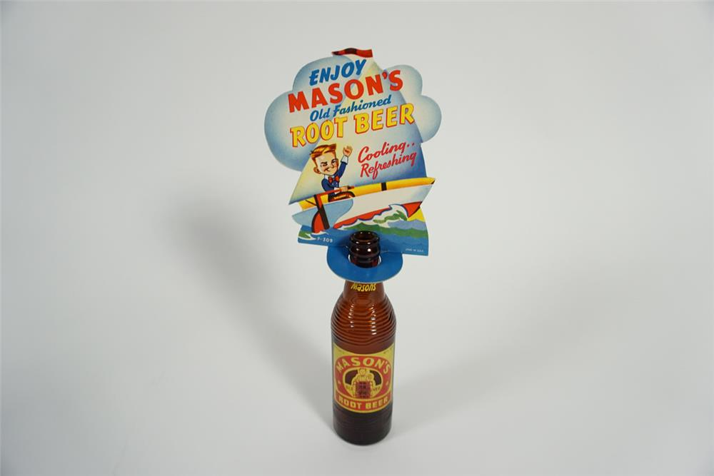 Circa 1930s Mason's Root Beer die-cut cardboard store display complete with period bottle. - Front 3/4 - 187726