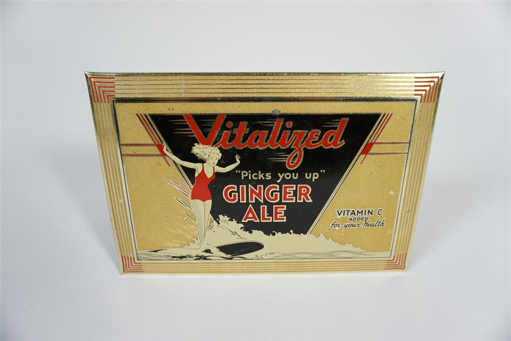 1930s Vitalized Ginger Ale countertop display featuring a lady surfer. - Front 3/4 - 187731