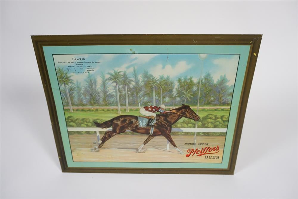 Beautiful 1930s Pfeiffers Beer single-sided tin litho tavern sign with beautiful racing thoroughbred artwork. - Front 3/4 - 187734