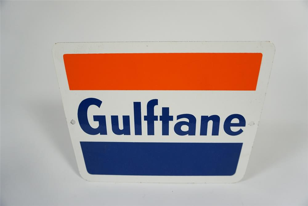 """NOS early 1960s Gulf Oil """"Gulftane Gasoline"""" single-sided porcelain pump plate sign. - Front 3/4 - 187737"""