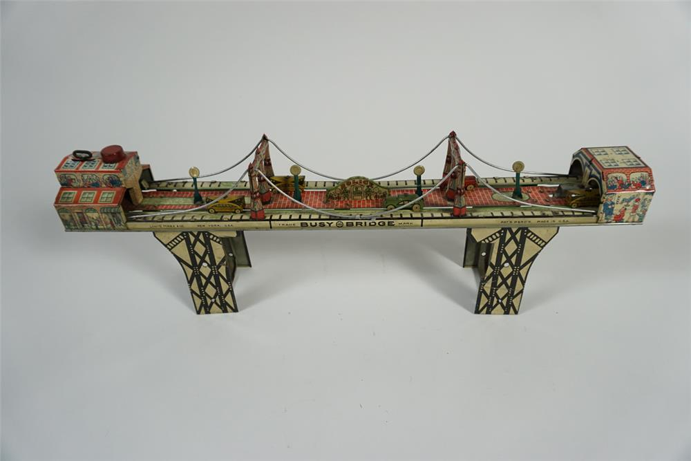 Interesting 1930s Marx Toys Busy Bridge wind-up tin litho toy in working condition. - Front 3/4 - 187739