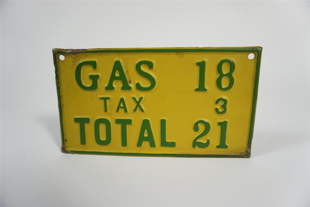 1920s filling station fuel island single-sided price notification sign. - Front 3/4 - 187740