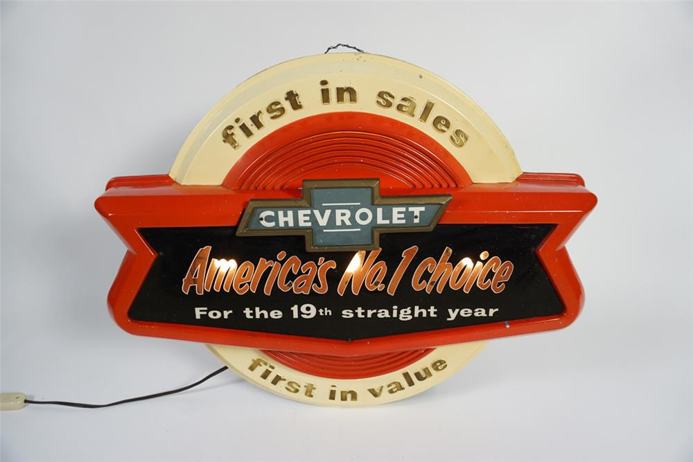 Seldom seen 1950s Chevrolet America's No.1 Choice light-up dealership showroom sign. - Front 3/4 - 187742
