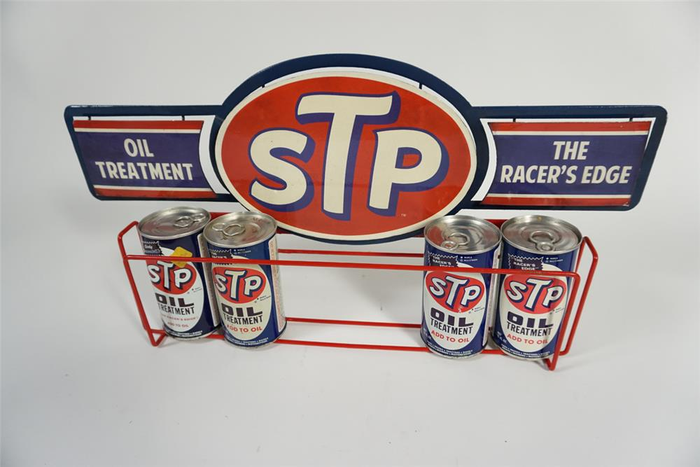 Very unusual 1960s STP Motor Oil Treatment automotive garage metal display still filled with original cans. - Front 3/4 - 187744