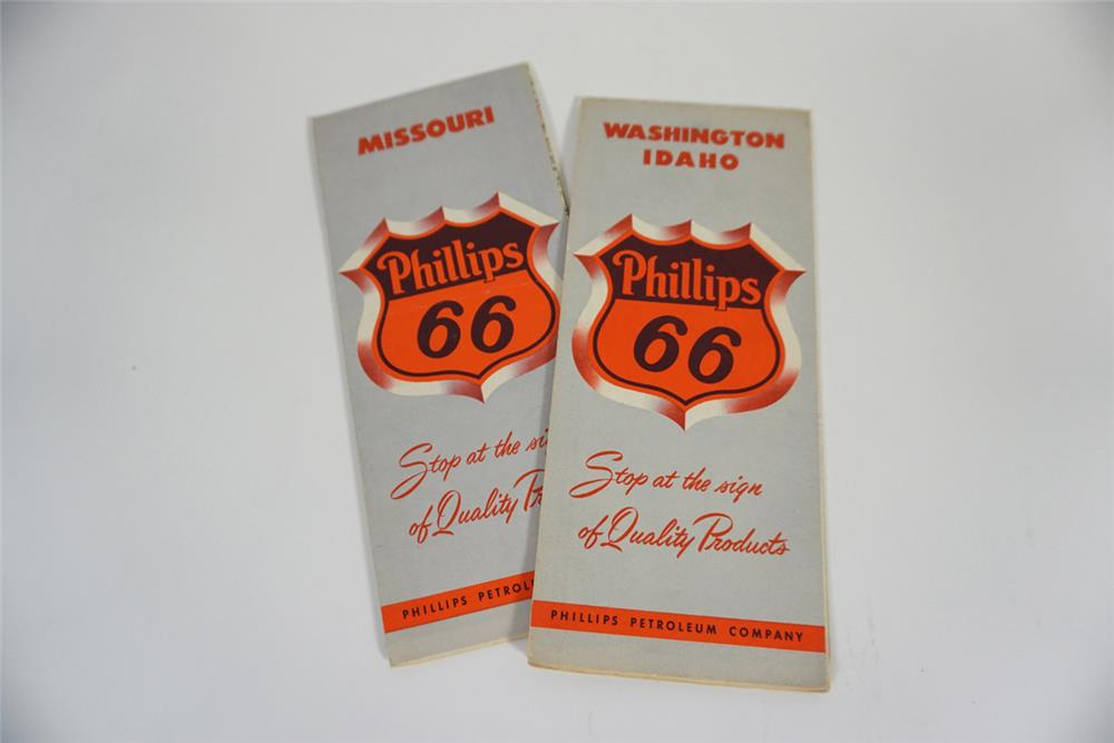 Lot of two 1950s Phillips 66 Oil service station road maps of Missouri and Washington-Idaho. - Front 3/4 - 187754