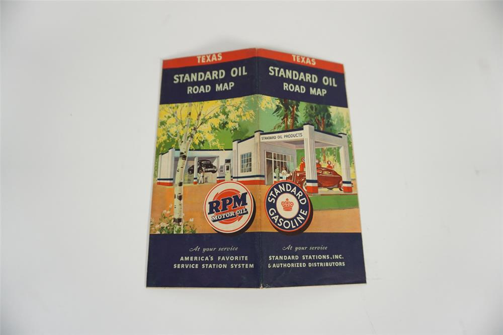 Colorful 1936 Standard Oil Road Map of Texas featuring artwork of a period station. - Front 3/4 - 187755