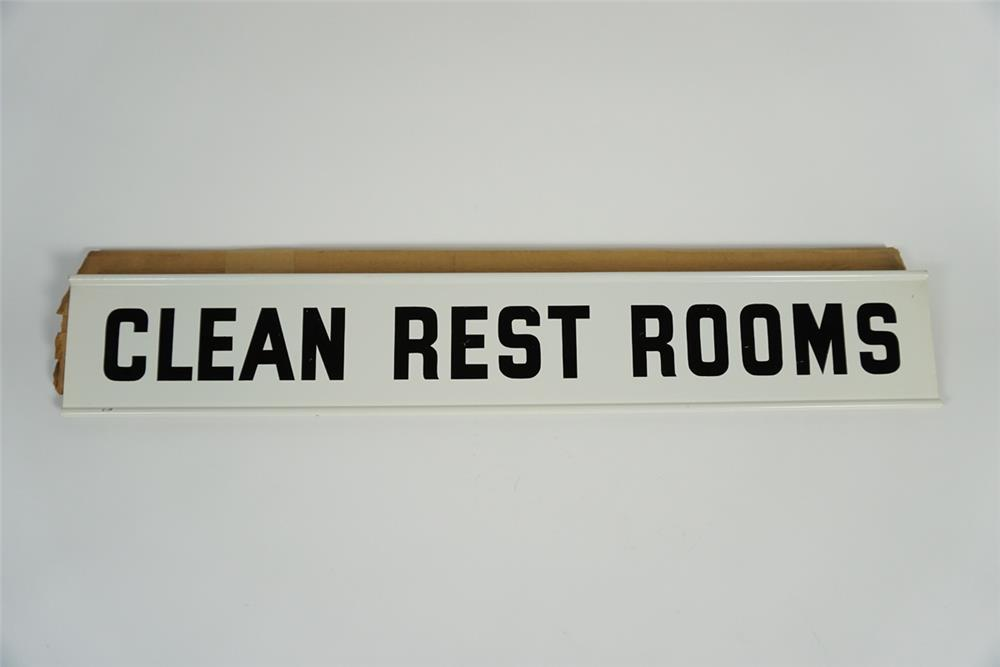 "NOS 1950s Champion Spark Plugs ""Clean Rest Rooms"" double-sided tin service station sign. - Front 3/4 - 187766"