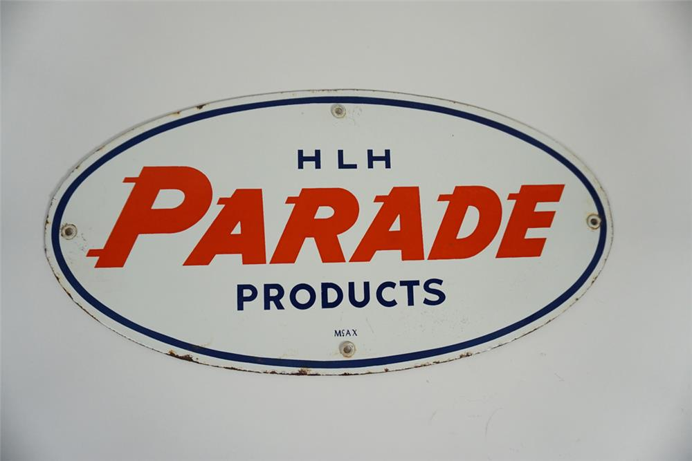Uncommon Humble Oil Parade Products single-sided porcelain pump plate sign. - Front 3/4 - 187767