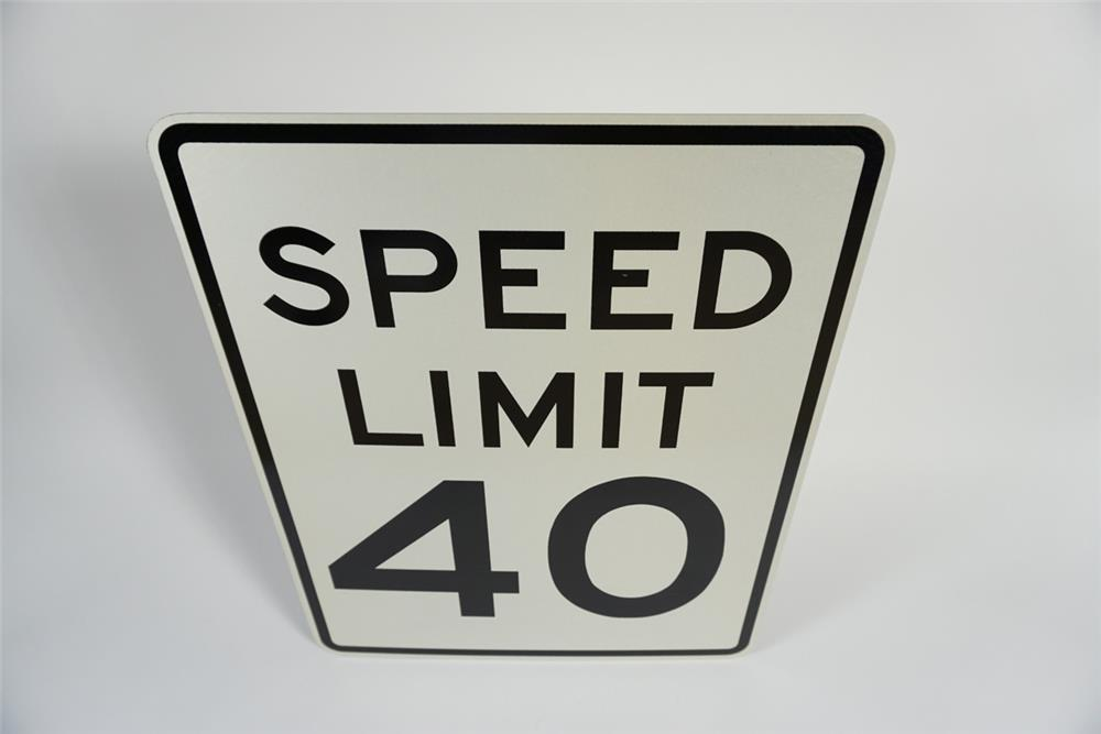 NOS Speed Limit 40 metal highway road sign. - Front 3/4 - 187770