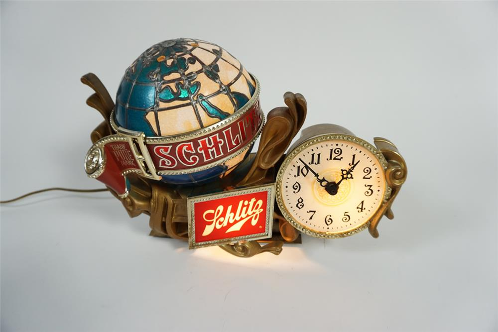 Neat Schlitz Beer lighted tavern clock with spinning globe. - Front 3/4 - 187775