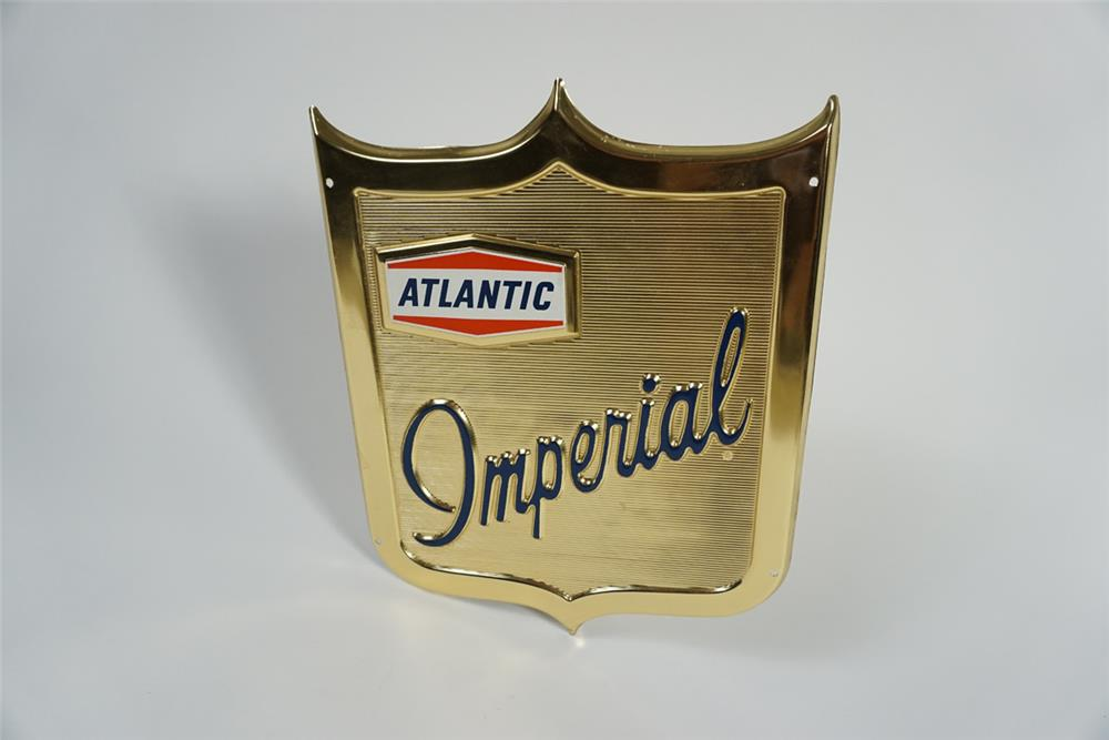 Seldom seen early 1960s Atlantic Gasoline shield shaped single-sided gas pump plate. - Front 3/4 - 187781