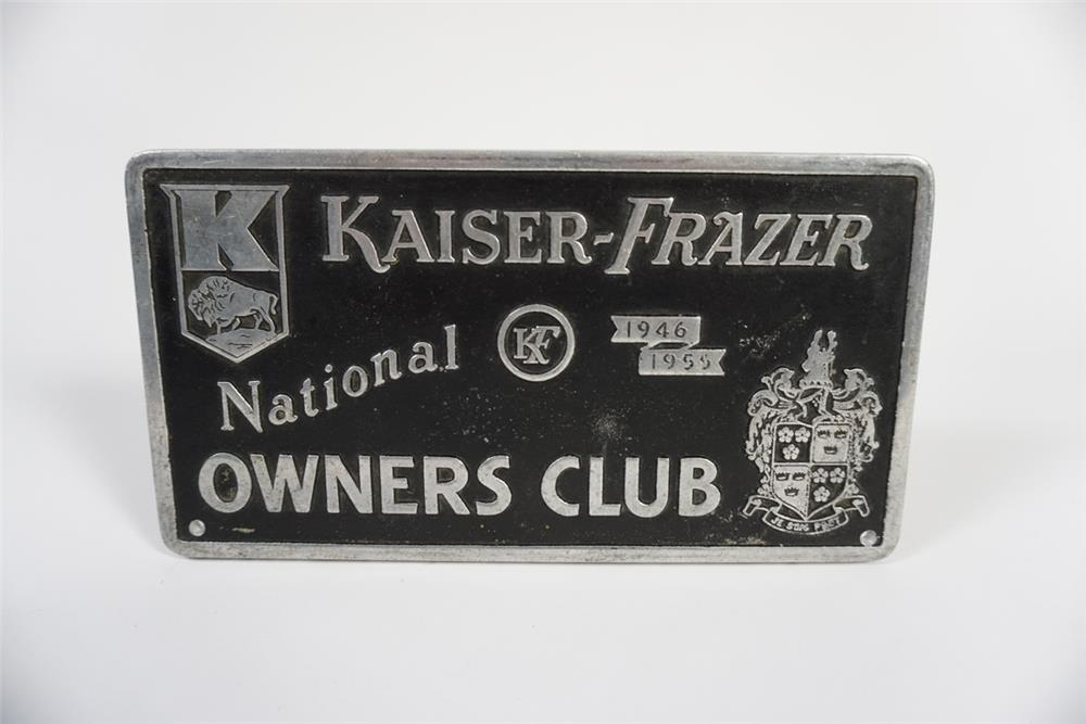 1955 National Kaiser-Frazer Owners Club cast metal sign. - Front 3/4 - 187782