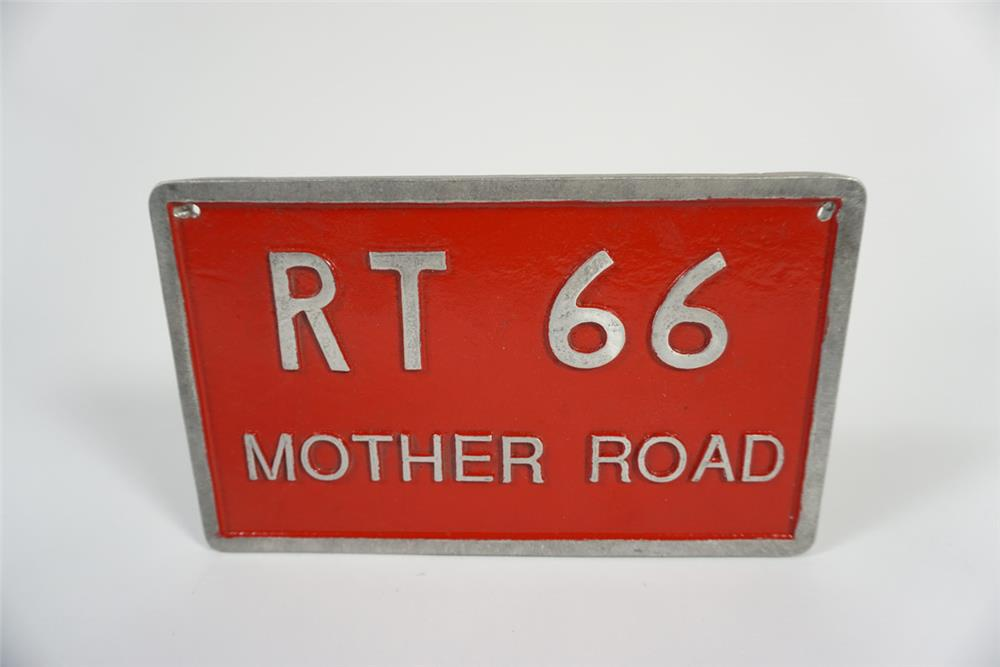 Vintage Route 66 Mother Road cast metal sign. Appears to have never been used. - Front 3/4 - 187783